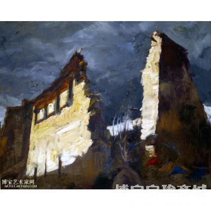 名家 任东良 油画; - 任东良 坍塌的寺庙 类别: 风景油画